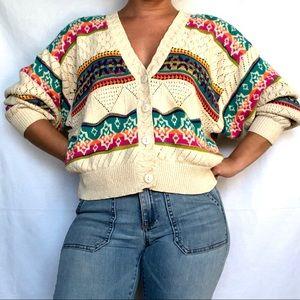 VTG Silk Blend Pointelle Rainbow Striped Cardigan